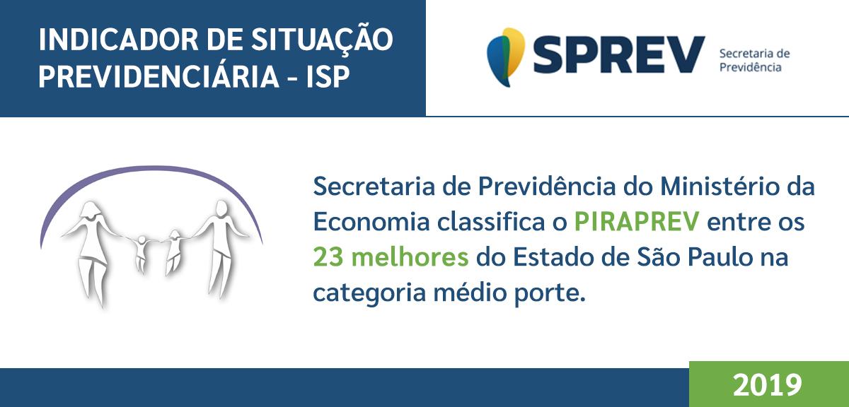 Secretaria de Previdência do Ministério da Economia classifica o PIRAPREV entre os 23 melhores do Estado de São Paulo na categoria médio porte